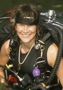 Ann in her cave diving gear